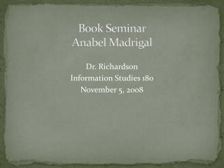 Book Seminar Anabel Madrigal