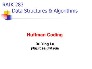 RAIK 283       Data Structures & Algorithms