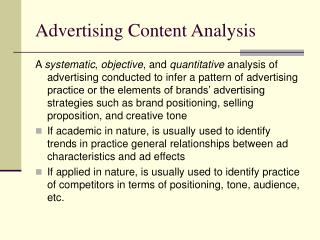 Advertising Content Analysis
