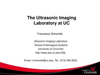 The Ultrasonic Imaging Laboratory at UC