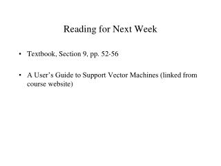 Reading for Next Week