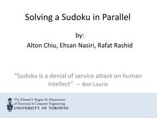Solving a Sudoku in Parallel