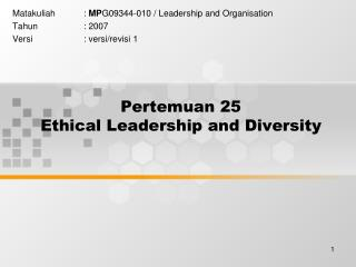 Pertemuan 25 Ethical Leadership and Diversity