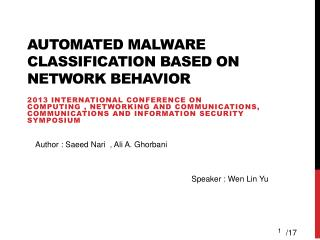 Automated malware classification based on network behavior