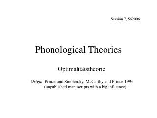 Phonological Theories