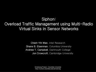 Siphon:  Overload Traffic Management using Multi-Radio Virtual Sinks in Sensor Networks