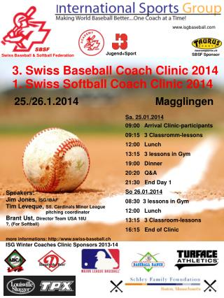 3 . Swiss  Baseball Coach  Clinic  2014 1.  Swiss  Softball Coach  Clinic  2014