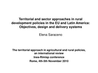 The territorial approach in agricultural and rural policies, an international review