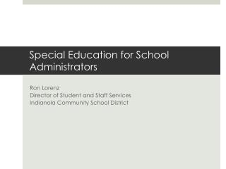 Special Education for School Administrators