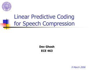 Linear Predictive Coding for Speech Compression