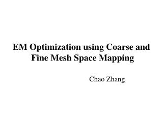 EM Optimization using Coarse and  Fine Mesh Space Mapping