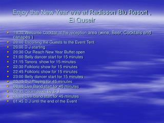 Enjoy the New Year eve at Radisson Blu Resort , El Quseir