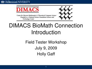 DIMACS BioMath Connection Introduction