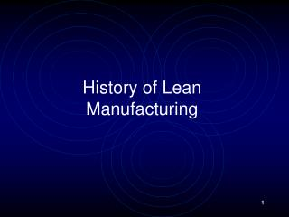 History of Lean Manufacturing