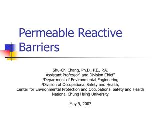 Permeable Reactive Barriers