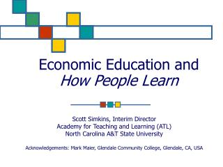 Economic Education and How People Learn