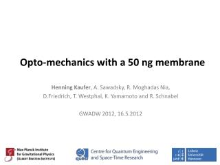 Opto-mechanics with a 50  ng  membrane