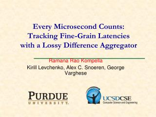 Every Microsecond Counts: Tracking Fine-Grain Latencies  with a  Lossy  Difference Aggregator