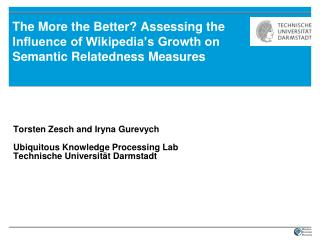 Torsten Zesch and Iryna Gurevych Ubiquitous Knowledge Processing Lab