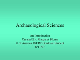 Archaeological Sciences