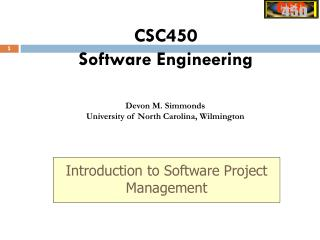 CSC450 Software Engineering