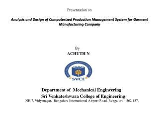 By  ACHUTH  N               Department of  Mechanical Engineering