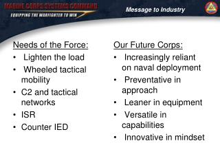 Needs of the Force:  Lighten the load  Wheeled tactical mobility C2 and tactical networks ISR