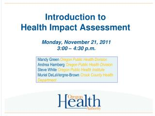 Introduction to  Health Impact Assessment