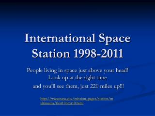 International Space Station  1998-2011