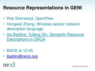 Resource Representations in GENI
