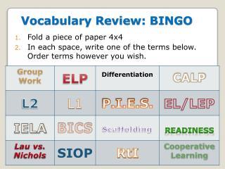 Vocabulary Review: BINGO