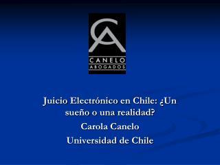 Juicio Electr nico en Chile:  Un sue o o una realidad Carola Canelo  Universidad de Chile