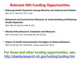 Relevant NIH Funding Opportunities