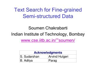 Text Search for Fine-grained  Semi-structured Data