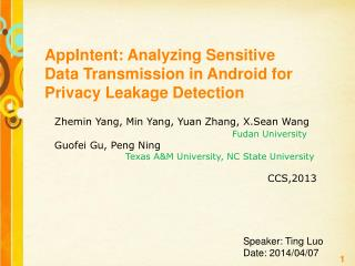 AppIntent: Analyzing Sensitive  Data Transmission in Android for Privacy Leakage Detection