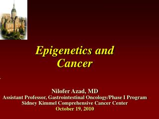 Epigenetics and  Cancer     Nilofer Azad, MD Assistant Professor, Gastrointestinal Oncology