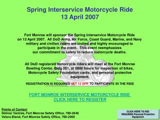 Spring Interservice Motorcycle Ride 13 April 2007