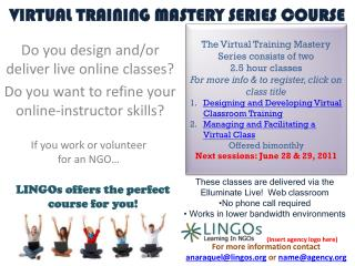 VIRTUAL TRAINING MASTERY SERIES COURSE