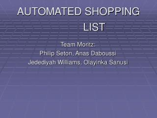 AUTOMATED SHOPPING  			LIST