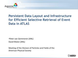 Persistent Data Layout and Infrastructure for Efficient Selective Retrieval of Event Data in ATLAS