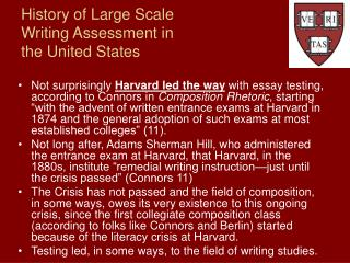 History of Large Scale Writing Assessment in the United States