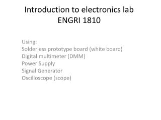 Introduction to electronics lab ENGRI 1810