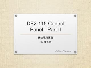 DE2-115  Control Panel - Part II
