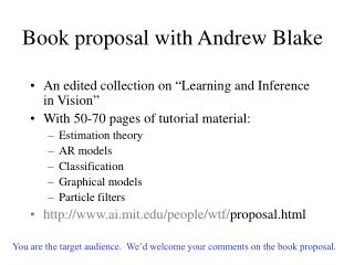 Book proposal with Andrew Blake