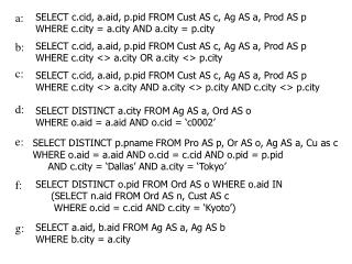 SELECT c.cid, a.aid, p.pid FROM Cust AS c, Ag AS a, Prod AS p