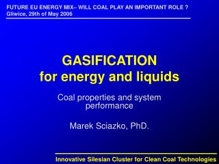 GASIFICATION for energy and liquids