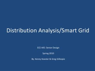 Distribution Analysis/Smart Grid