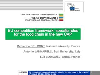 EU competition framework: specific rules for the food chain in the new CAP