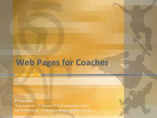 Web Pages for Coaches