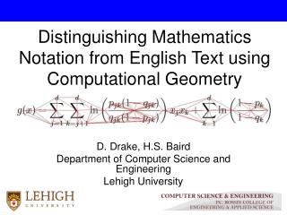 Distinguishing Mathematics Notation from English Text using Computational Geometry